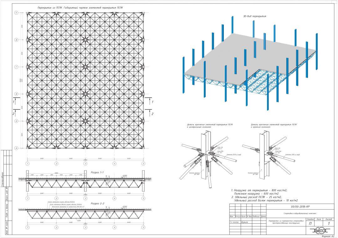 Конструктивное решение применения стержневых металлоконструкций для перекрытий пролетом более 12м и нагрузкой более 600кгс/м2